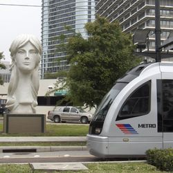Sculptor David Adickes strikes again, showing no mercy on a defenseless Houston.