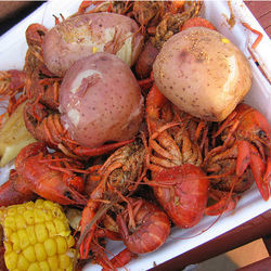 A tray of mudbugs at a recent boil at the West Alabama Ice House.