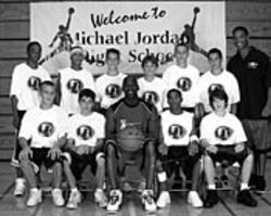 Fred (top left) played basketball for his school and  attended Michael Jordan's summer camp in 2003.