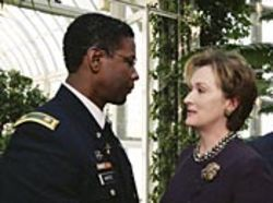 Meryl Streep (with Denzel Washington) brings a whole  new layer of creepy to the role of Senator Shaw.
