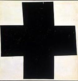 Malevich's Black Cross is a neatly painted,  wonky abstraction of the Russian Orthodox cross.