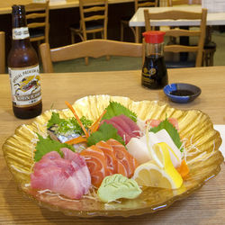 The sashimi plate comes with large, high-quality pieces of fish.