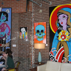 Liberty Station's walls are colorfully decorated with paintings from Houston artists.
