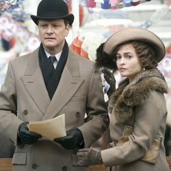 King George VI (Colin Firth, with Helena Bonham Carter) has to overcome a crippling stammer — and his natural priggishness.