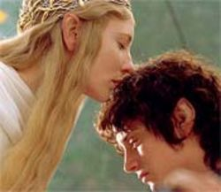Elves in love: Cate Blanchett, as Galadriel, speaks in tongues to Elijah Wood's hobbit, Frodo Baggins.