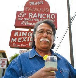 Matt Martinez Jr. in front of Matt's El Rancho in Austin.