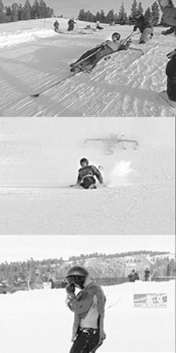 The sled crash: Going 65 mph, Mark flew off the sled and staggered away.