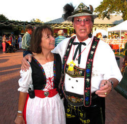 Fredericksburg Oktoberfest director Debbie Farquhar-Garner and festival emcee Allen Spouspa watch their language around the TABC.
