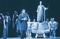 Singing in their chains like the sea: Marquita Lister (far left) and Gregg Baker (center) in the HGO's production of Aida.