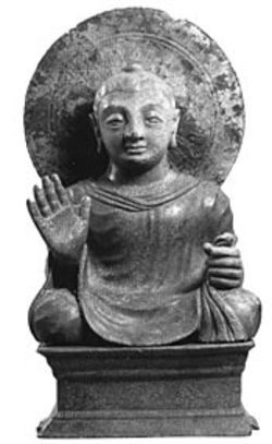 Seated Budda with Halo is a third- or fourth-century bronze from the collection of George Ortiz.