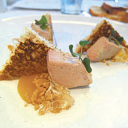 Brandy-poached foie gras.