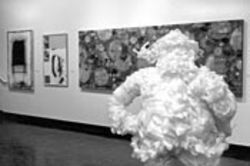 Tod Hebert&#039;s packing-foam Santa took first place in the juried competition.