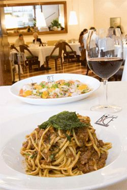 Bice&#039;s spaghetti Bolognese (pictured with salmon crudo) tastes truly authentic.