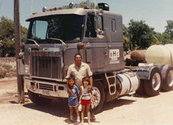 Thomas (pictured with his sister Raquel) loved riding in his dad's truck growing up.