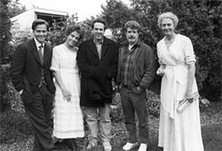 Raiders of the lost story arc: from left, Sean Patrick Flanery, ElizabethHurley, Rick McCallum, George Lucas and Vanessa Redgrave.