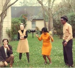 Townes Van Zandt (left) chills with Lightnin&amp;#146; Hopkins and wife at the home of Mimi Lomax (second from left).