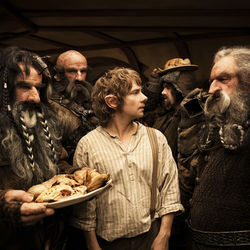 Martin Freeman (center) as Bilbo Baggins joins the dwarfs to reclaim a kingdom.