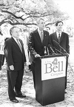 Former opponents Paul Colbert (left) and Stephen King rally around Bell.