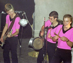 Fun with percussion in a show from the pre-Washarama days, 1980, at Austin's Club Foot