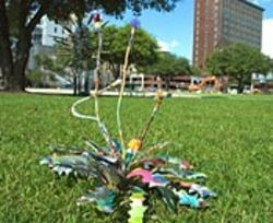Scott Wolniak's Weed (Totally Terrific), made  of trash, disappeared from Market Square in just a few  hours.