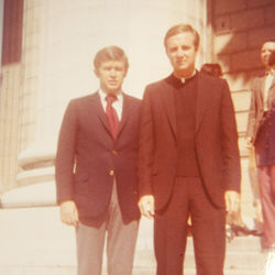 In 1971, Shea looked forward to a lifetime of serving the Church as a deacon. Here he is still a seminarian and in Paris with a devout Catholic friend who insisted he wear a collar for their picture.