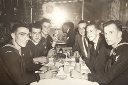 Shea, seen here in civilian clothes with his crewmates from the USS Cavalla in 1961, says that his time aboard submarines formed his personality.