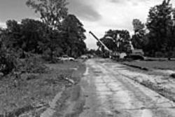 Once lined with houses and lawns, Bunningham Lane  is being razed to make way for the expanded Katy  Freeway.
