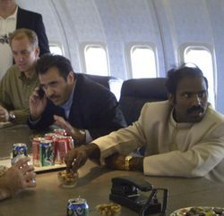 Kilari (far right) says his plane is like a private Air Force One.