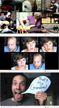 "The ""videosongs"" Pomplamoose posts on YouTube are never lip-synched, and show Conte and Dawn playing every instrument used in a song — along with them eating cereal, making faces and flashing homemade signs."
