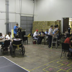 A warehouse serves as the lunchroom at D&D Care Homes, Inc., a well-kept private facility.