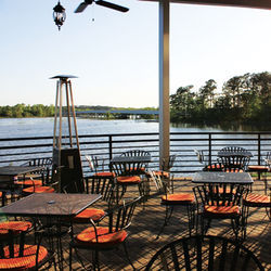 The Tasting Room Kingwood overlooks the shores of Lake Kingwood.