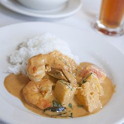 The shrimp and pineapple curry isn't all that spicy, but it's fragrant and rich with coconut milk.
