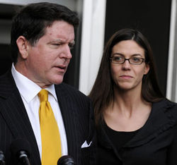 Laura Pendergest-Holt, pictured here with her attorney Dan Cogdell, is the only Stanford exec who faces criminal charges for allegedly lying to SEC investigators.