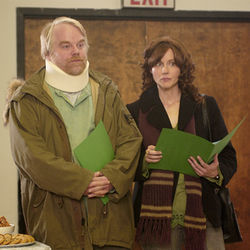 Trapped in adolescence: Jon and Wendy Savage (Philip Seymour Hoffman and Laura Linney)