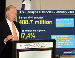 Pickens preaches about the perils of importing foreign oil.