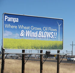 The Texas Panhandle city of Pampa is hoping Pickens's wind farm gets running soon.