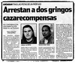 """Two Gringo Bounty Hunters Arrested,"" said the  San Luis Hoy."
