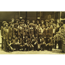The Kashmere Stage Band pauses for a group shot in Okinawa during a 1975 tour of Japan.