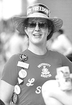 Taking it to the streets: Phyllis at the 1983 Houston Pride Parade.