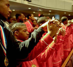 The players attended church service in the Third Ward the morning after winning the state championship.