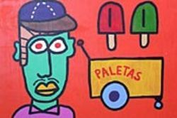 The ice cream man cometh: Paco Felici showcases  his cartoony art (like Mexicani, above) at  Foxglove Antiques. See Friday.