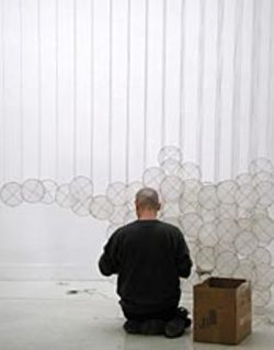 "Jacob Hashimoto should be finished installing  his 9,000 kites for the opening of ""Superabundant  Atmosphere."" See Thursday."