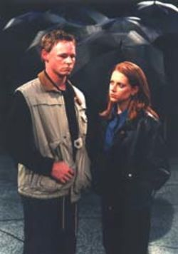 Corby Sullivan and Kara Greenberg in Moisés Kaufman's The Laramie Project.