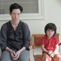 Reluctant mother and her terror of a son: Tilda Swinton and Jasper Newell.