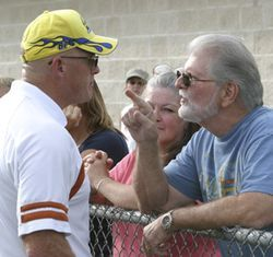 Spectator Bill Hughes tells Coach Cummins young kids don't need to be yelled at like that.