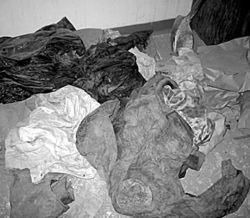 Blood-soaked clothing was left behind in The House of Death.