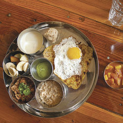 Breakfast thali at Pondicheri.