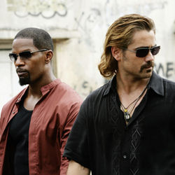 Detectives Ricardo Tubbs (Jamie Foxx) and Sonny Crockett (Colin Farrell) in Miami Vice.