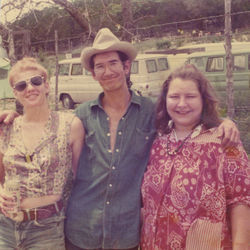 Cindy and Townes stand to the right of my mother, Bidy Lomax, at a hot-air balloon expo near Van Zandt's Tennessee cabin, circa 1978.