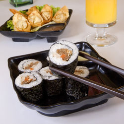 All splendid: sushi, wontons and an &amp;shy;Orange&amp;nbsp;Joy.